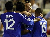 Chelsea captain John Terry leads the celebrations for Joe Cole's opener
