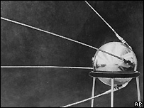 Sputnik satellite, pre-launch, resting on support frame