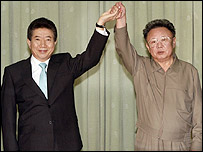 South Korean President Roh Moo-hyun and North Korean leader Kim Jong-il raise their hands after signing a joint declaration in Pyongyang - 04/10/07