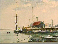 A painting of Whitstable Harbour by Peter Cushing