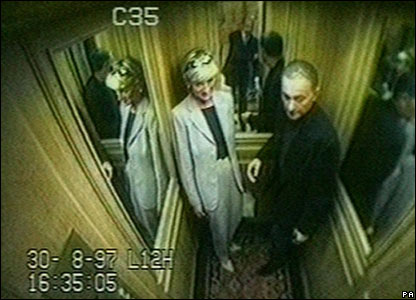 Diana and Dodi in a lift at the Ritz Hotel in Paris released to inquest on 3 October
