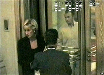 CCTV still of Diana entering the Ritz Hotel released to inquest on 3 October