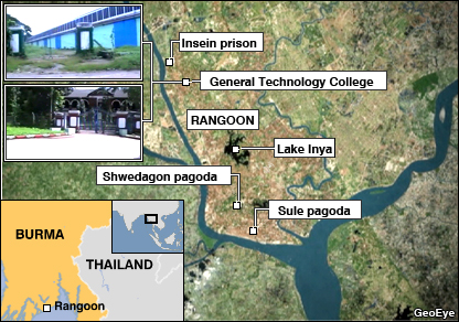 Satellite map of the part of Rangoon where many of the protesting monks are believed to be being held