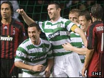 Celtic celebrate Scott McDonald's winner against AC Milan
