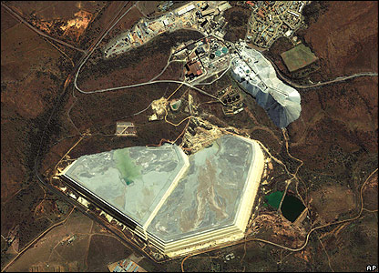 Satellite image of mine: AP Photo/GeoEye Satellite Image