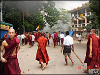 Monks demonstrating in Rangoon, 25/10