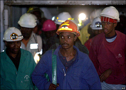 Miners emerge from lift