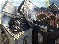 St Barnabas Church after the fire