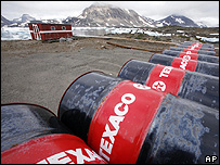 Oil barrels in Greenland (Image:AP)