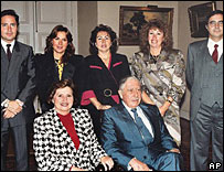 General Augusto Pinochet, his wife Lucia and their five children (file photo)