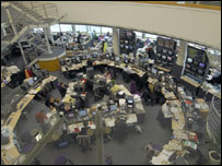 The newsroom at BBC Television Centre