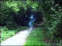 Film footage of the ghost-like apparition