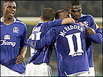 Everton's players celebrate after James McFadden's equaliser in Ukraine