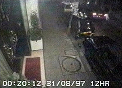 CCTV still of rear of the Ritz showing Diana leaving in a car released to inquest on 4 October