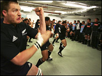 Ali Williams performs the Haka in the Millennium Stadium dressing room