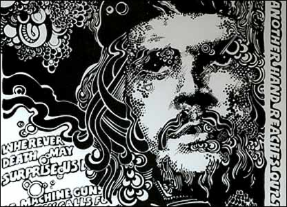 A drawing of Che Guevara, printed on silver board (Image courtesy of Jim Fitzpatrick)