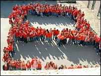 Westhill pupils dressed in red