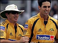 Brad Hogg and Mitchell Johnson