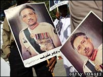 Musharraf supporters with posters of the president, Islamabad, 4 Oct