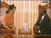 Aung San Suu Kyi (L) with UN envoy Ibrahim Gambari as shown on Burmese TV, 04/10