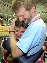 British cyclist Yvonne McGregor and coach Peter Keen in 2000
