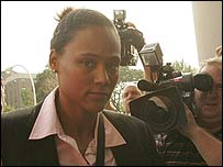 Marion Jones arrives at court in New York