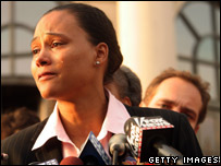 Marion Jones speaks to the media outside the federal court, New York