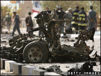 Car blast site in Kabul, 6 October 2007