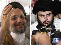 Abdul Aziz al-Hakim (L) and Moqtada Sadr