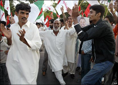 supporters in joy celebrate