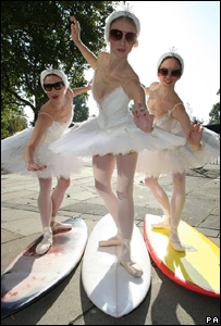 Dancers from the English National Ballet pose with surfboards to promote the collaboration