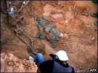 رفات غيفارا لدى اكتشافه في بوليفيا عام 1997