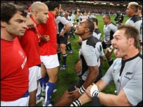France's players face up to the New Zealand haka