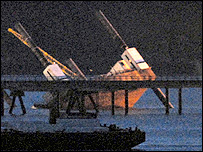 The collapsed barge at Milford Haven