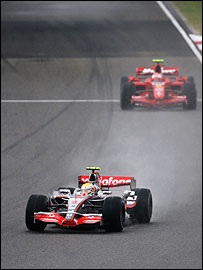 Lewis Hamilton leads Kimi Raikkonen in the early stages of the Chinese Grand Prix