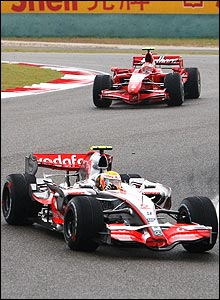 Hamilton's lead over Kimi Raikkonen climbs to eight seconds, but the Englishman has a problem with his right-rear tyre