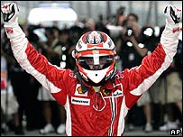 Kimi Raikkonen celebrates his win in the Chinese Grand Prix