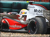 Lewis Hamilton beached in the gravel trap on the way into the pit lane at the Chinese Grand Prix