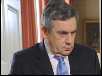 Gordon Brown at 10 Downing Street... credit Jeff Overs BBC News