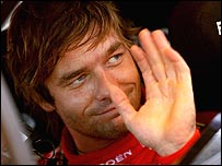 Sebastien Loeb celebrates winning the Rally of Catalunya