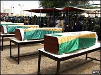 Гробы с телами погибших миротворцев