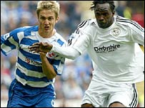 Reading's Kevin Doyle and Derby's Claude Davis