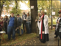 Service outside St Barnabus church