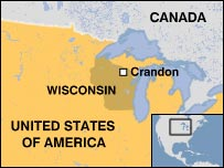 Map of Wisconsin showing Crandon