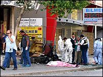 موقع تفجير في مدينة ازمير التركية في الثاني من اكتوبر 2007