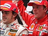 Fernando Alonso (left) and Ferrari's Kimi Raikkonen