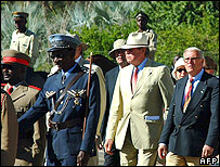 Members of the von Trotha family with Namibian officials
