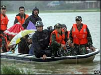 Residents are evacuated in Cangnan, in east China's Zhejiang Province