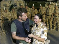 Ewan McGregor presents a Pride Of Britain award to Staff Sgt Michelle Cunningham  (Copyright The Daily Mirror/PA Wire)