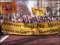 Anti-war protesters on march to Trafalgar Square in March 2005.